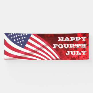 Happy Fourth July American flag starry background Banner