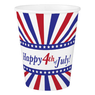 Happy Fourth of July Patriotic Stars and Stripes Paper Cup