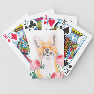 Happy Foxy And Roses Bicycle Playing Cards