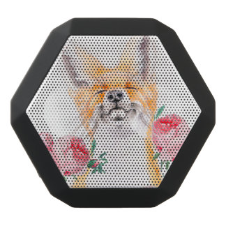 Happy Foxy And Roses Black Bluetooth Speaker