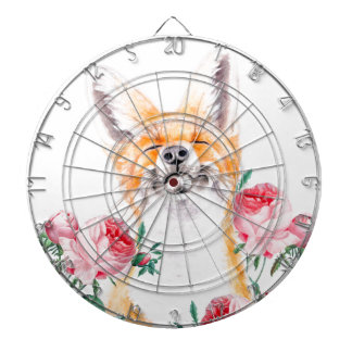Happy Foxy And Roses Dartboard