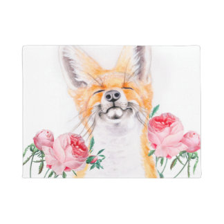 Happy Foxy And Roses Doormat