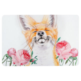 Happy Foxy And Roses Floor Mat