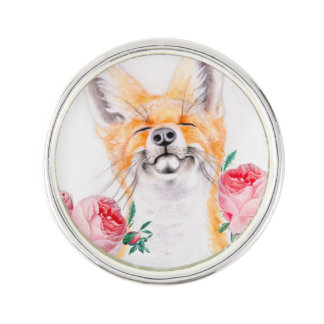 Happy Foxy And Roses Lapel Pin