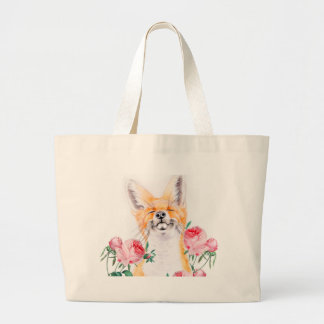 Happy Foxy And Roses Large Tote Bag