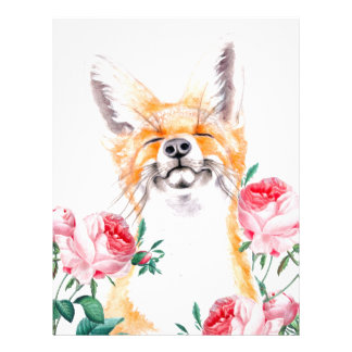 Happy Foxy And Roses Letterhead