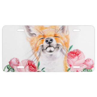 Happy Foxy And Roses License Plate