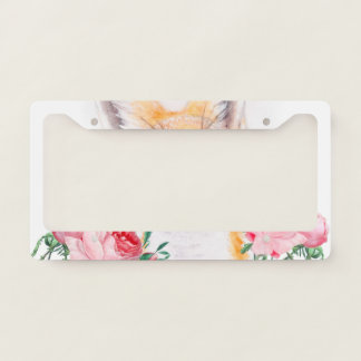 Happy Foxy And Roses License Plate Frame