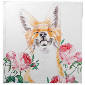 Happy Foxy And Roses Napkin