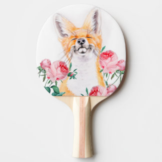Happy Foxy And Roses Ping Pong Paddle