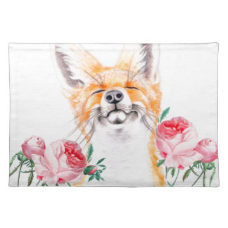 Happy Foxy And Roses Placemat