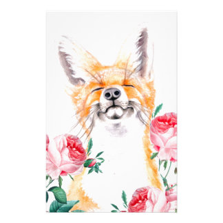 Happy Foxy And Roses Stationery