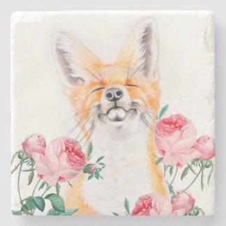 Happy Foxy And Roses Stone Coaster