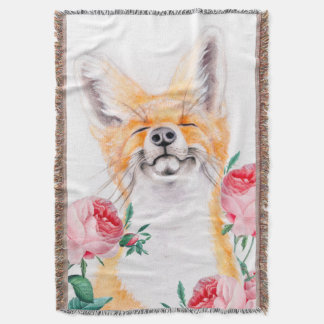 Happy Foxy And Roses Throw Blanket