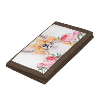 Happy Foxy And Roses Trifold Wallets