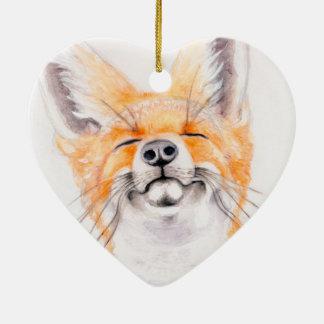 Happy Foxy Ceramic Ornament