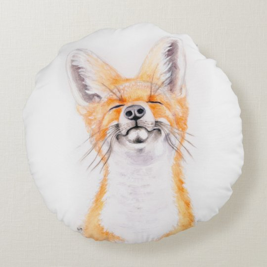 Happy Foxy Round Pillow