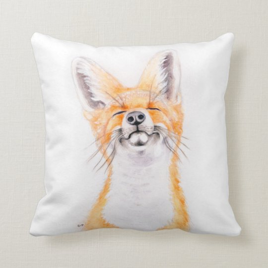 Happy Foxy Throw Pillow