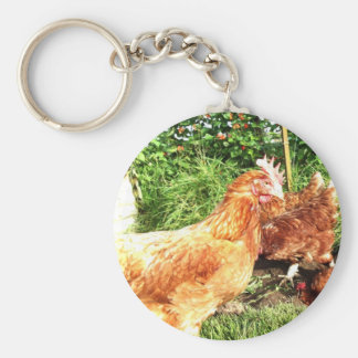 Happy Free range ex-battery chickens Keychain