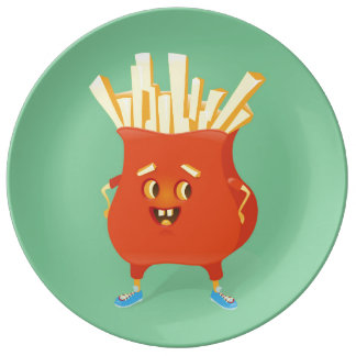 Happy French Fries Porcelain Plate