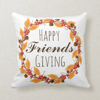 Happy Friends Giving Fall Leaves & Berries Wreath Throw Pillow
