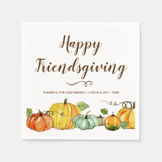 Happy Friendsgiving Thanksgiving Harvest Custom Paper Napkin