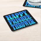 Happy Frisbee Thrower in Blue Square Paper Coaster