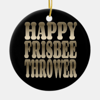 Happy Frisbee Thrower in Silver Round Ceramic Ornament
