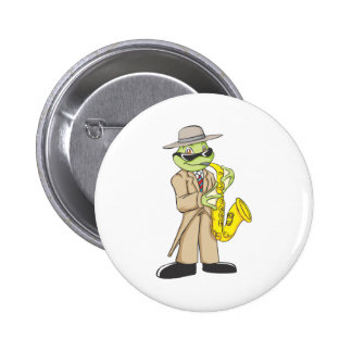 Happy Frog Saxophone Artist Pinback Button