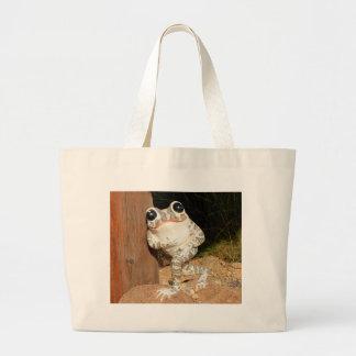 Happy frog with big eyes large tote bag