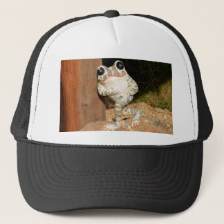 Happy frog with big eyes trucker hat