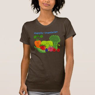 Happy Fruits and Vegetables Design T-Shirt