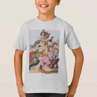 Happy Funny Cat Folk T Shirt
