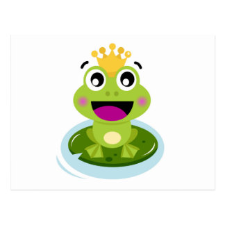 Happy Funny Face Green Frog Postcard