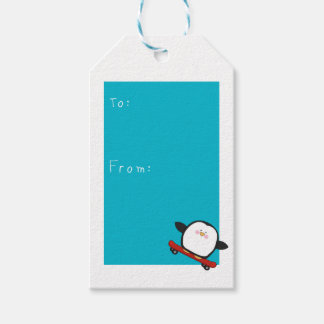 Happy funny fathers day with penguin tag pack of gift tags