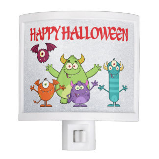 happy funny halloween monsters night light