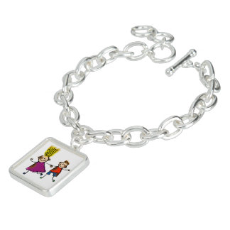 Happy Funny Kids Couple Drawing Doodle Cartoon Charm Bracelet