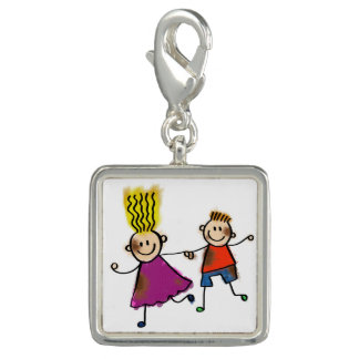 Happy Funny Kids Couple Drawing Doodle Cartoon Photo Charms