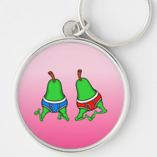 Happy Gay Pride Couple Pears Silver-Colored Round Keychain