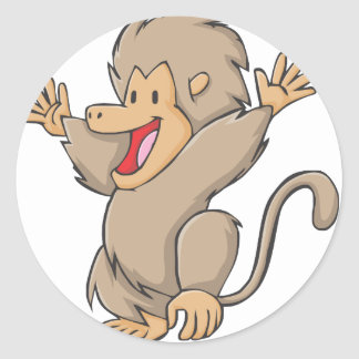Happy Gelada Monkey Cartoon Classic Round Sticker