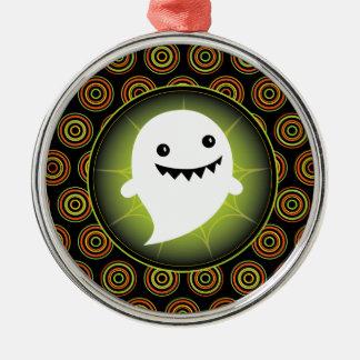 Happy Ghost Halloween Metal Ornament