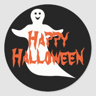 Happy Ghost Happy Halloween Classic Round Sticker