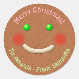 Happy Gingerbread Cookie Round Sticker