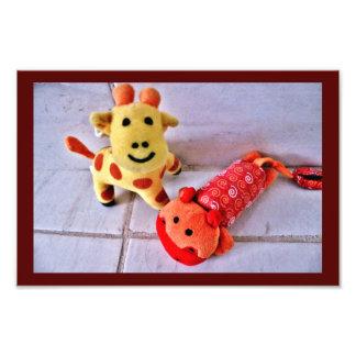 Happy Giraffe and Hippo Photo Print