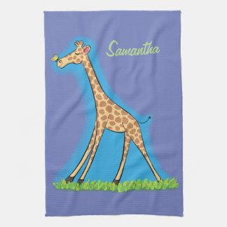 Happy giraffe with butterfly cartoon kitchen towel