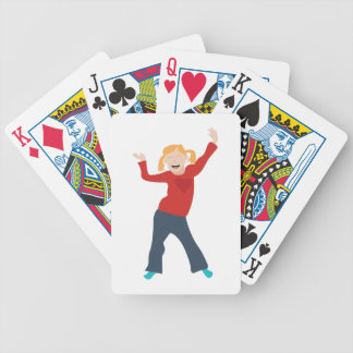 Happy Girl Bicycle Playing Cards