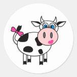 Happy Girl Cow Round Stickers