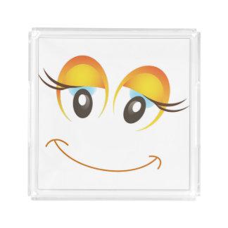 HAPPY GIRL SMILEY FACE ACRYLIC TRAY