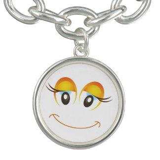 HAPPY GIRL SMILEY FACE CHARM BRACELET