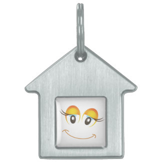 HAPPY GIRL SMILEY FACE PET NAME TAG